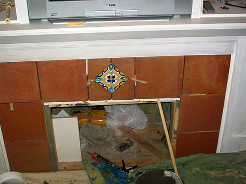 Fireplace With Tiles In Place